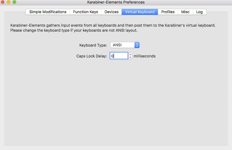 キーボードタイプをANSIに設定