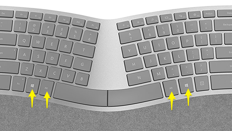 Surface Ergonomic Keyboardのキー配置