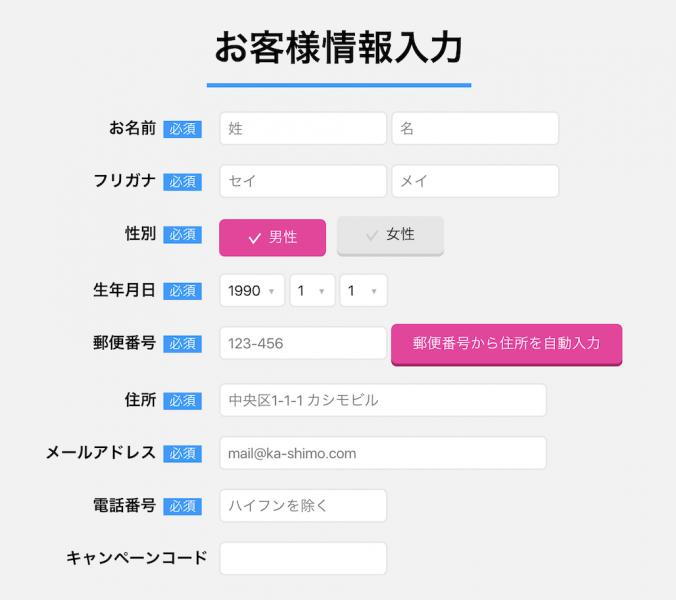 カシモWiMAXお客様情報の入力